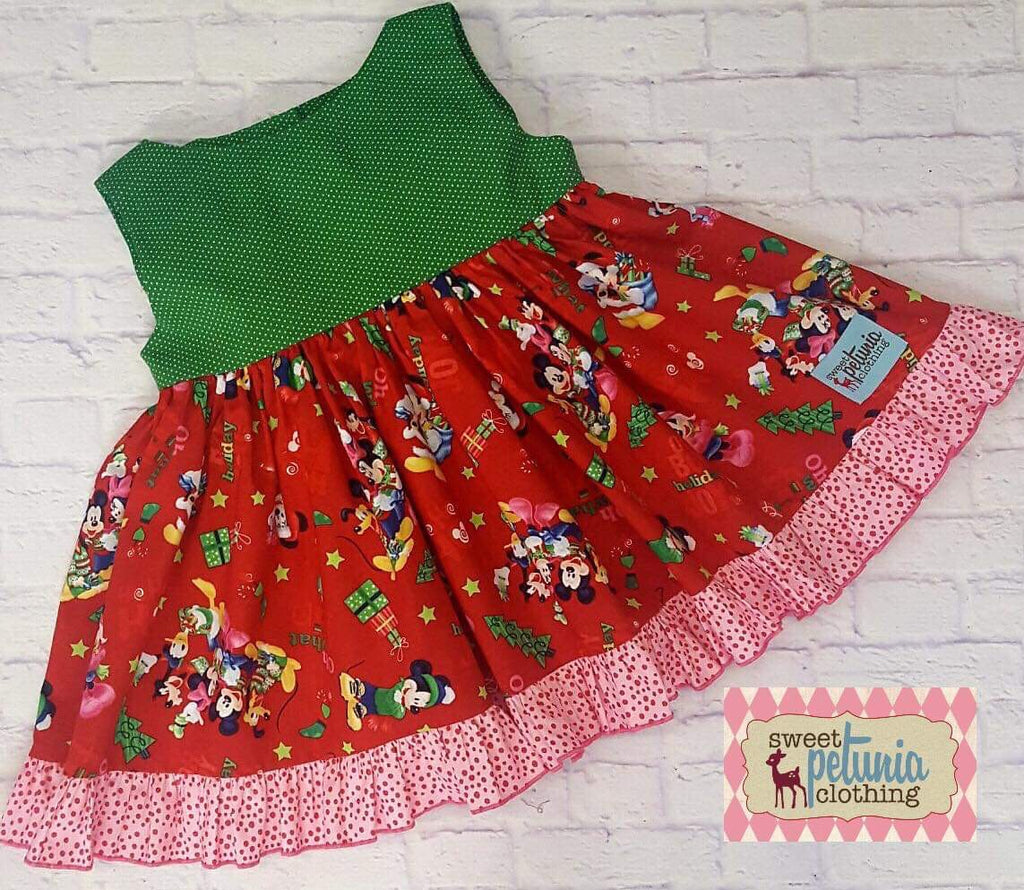 Green and Red Mickey and Friends Tunic
