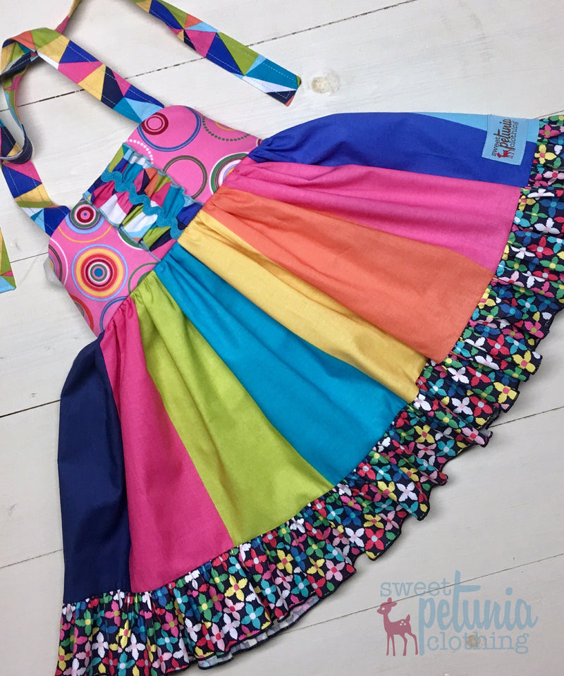 Rainbow Halter Swing Dress