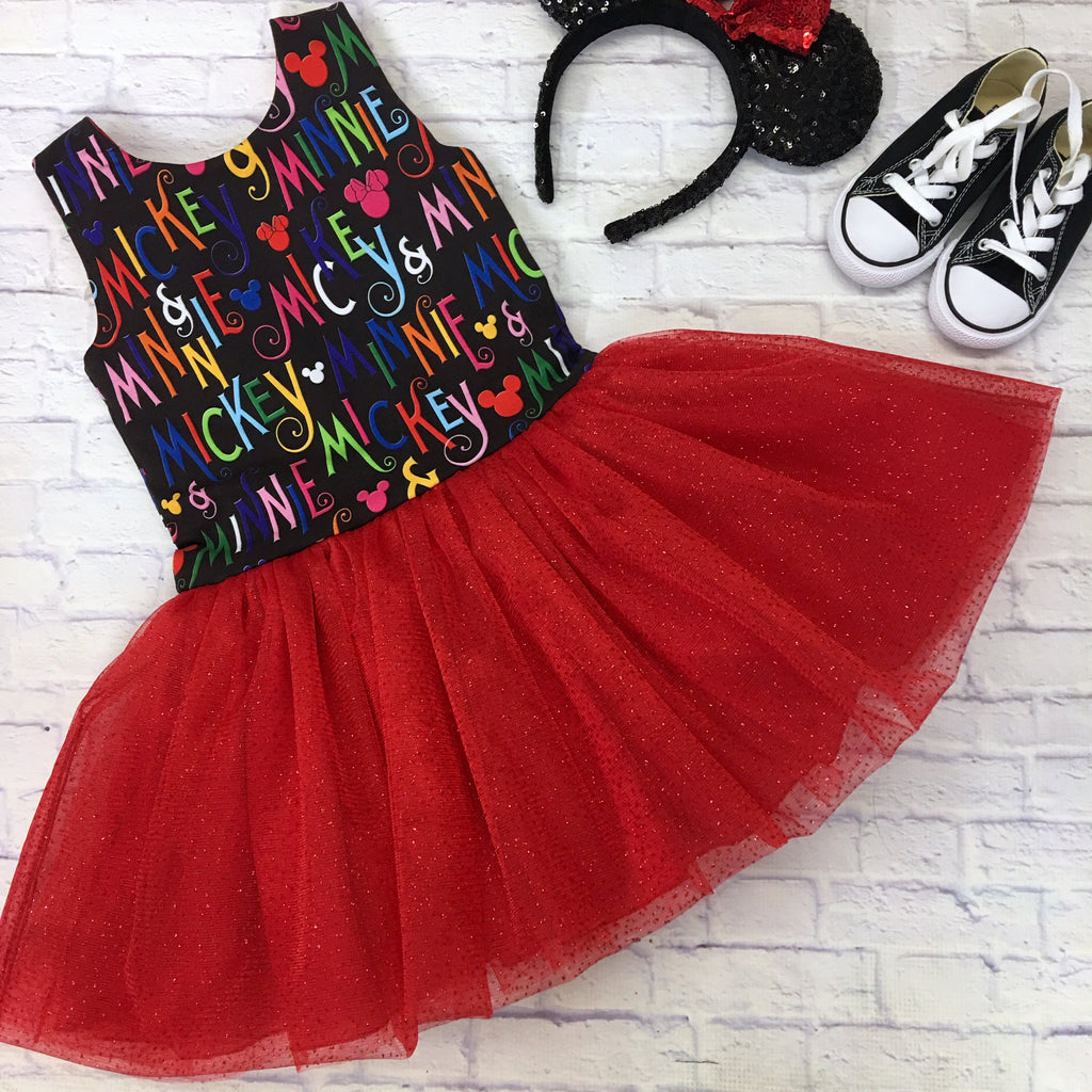 Red and Black Mickey and Minnie Caroline Dress