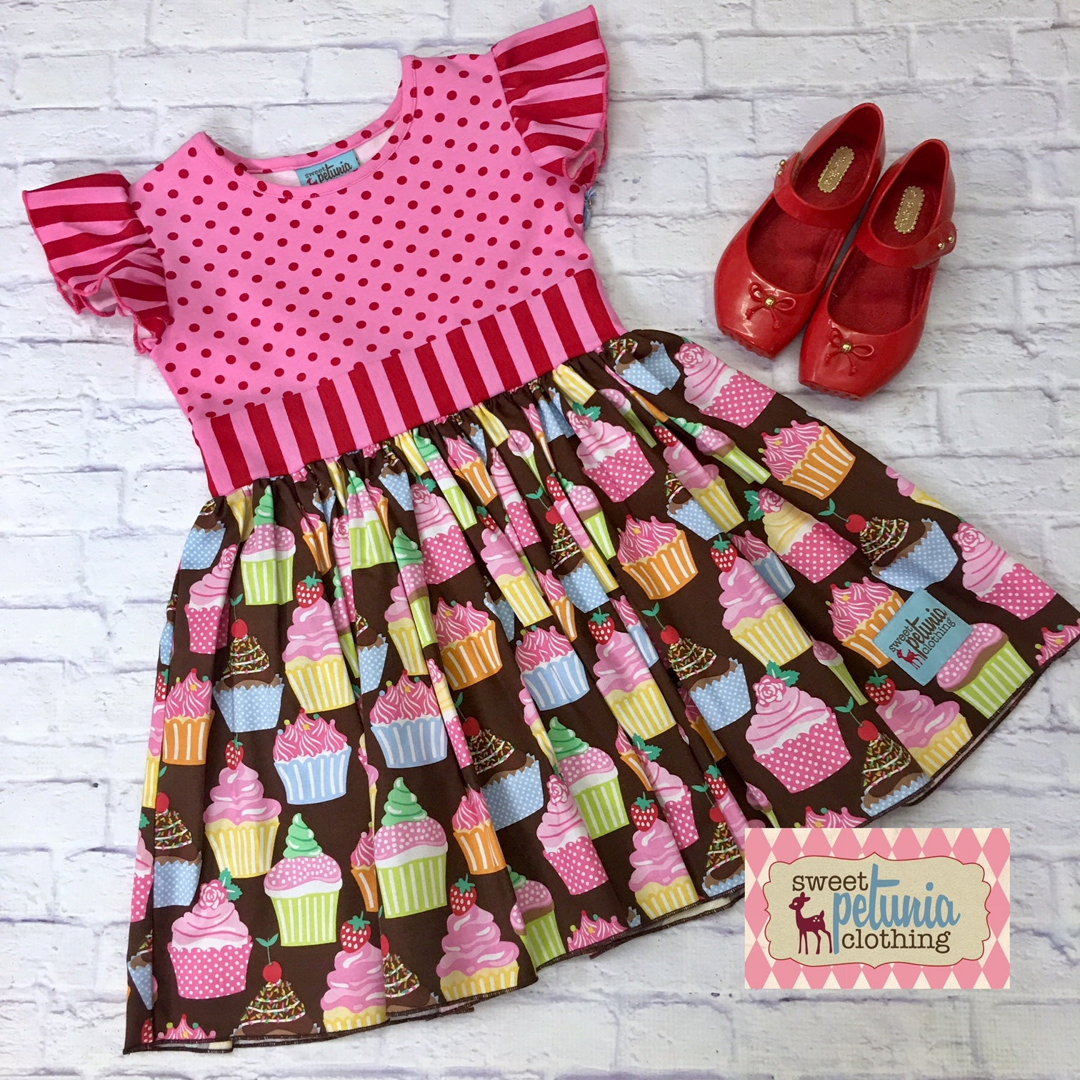 f9eacb7f205e5 Pink and Red Cupcake Dress – Sweet Petunia Clothing