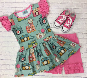 Pink and Aqua Say Cheese Knit Peplum Tunic