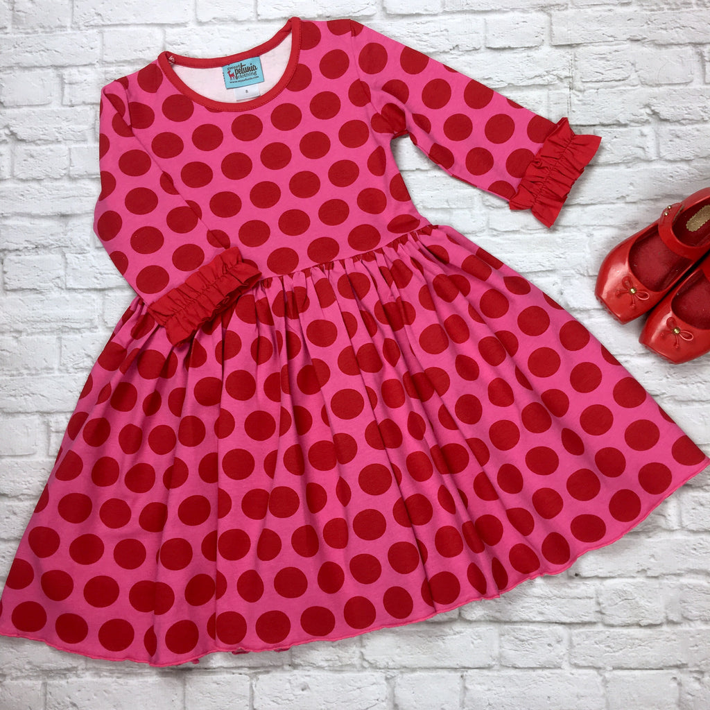 Pink and Red Dot Knit Empire Dress