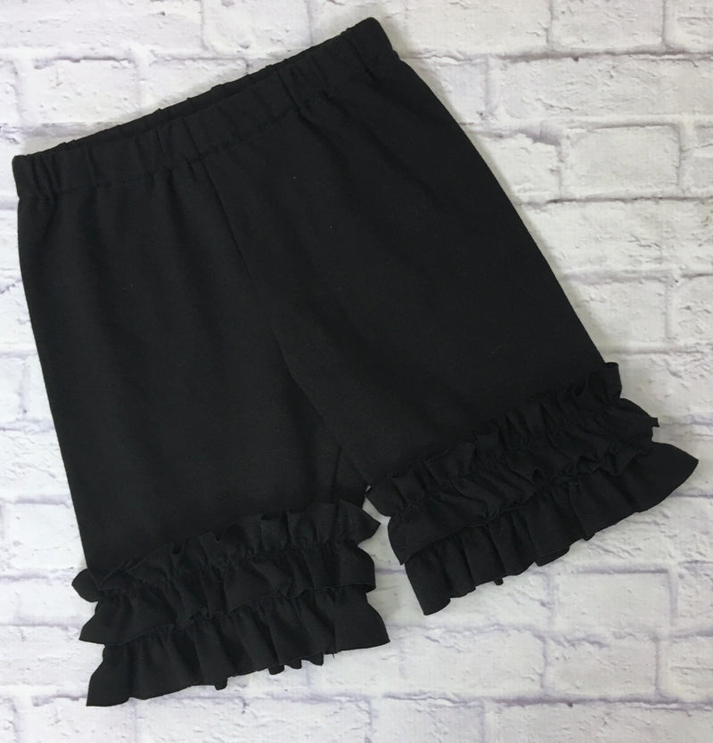Shorties- Black Knit with Ruffles