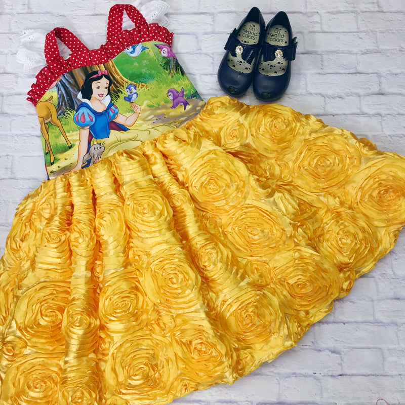 Snow White Ballerina Yellow Rose Dress 🍎