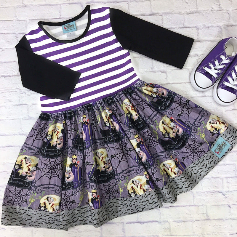 Villains and Spiders Purple Stripe 3/4 Sleeve Dress