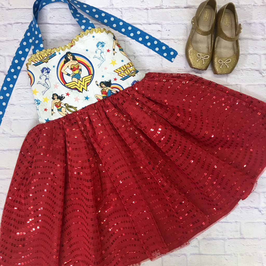 Wonder Woman Red Sequin Ballerina Dress