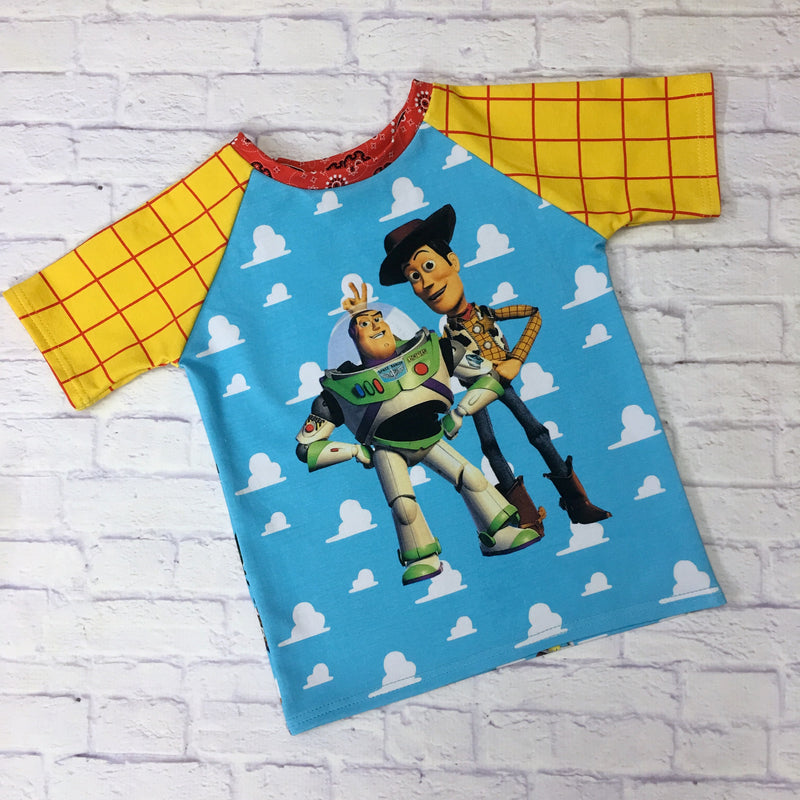 Short Sleeve Raglan Tee with Buzz and Woody