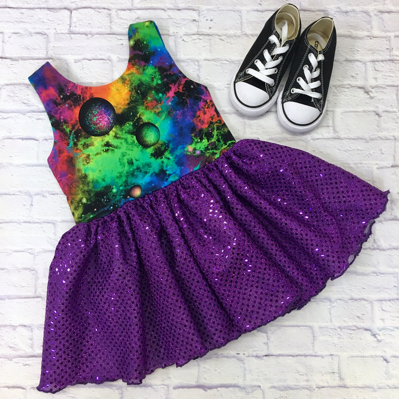 "Lucy ""Out of This World"" Planet Dress- different sleeve options available"