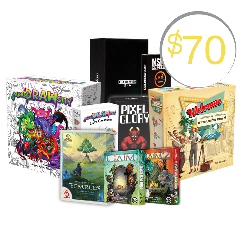 Deep Water Games Mega Board Game Pack. Includes Welcome To, MosnDRAWsity, Death Wish, Claim Card Game, Mystery of the temples and more!