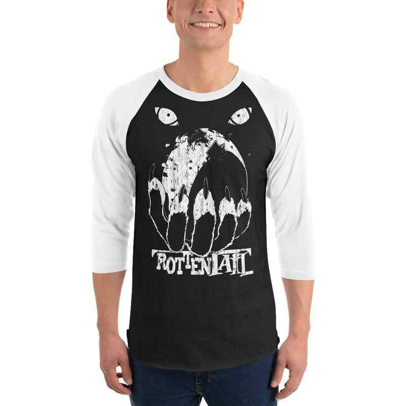 Rottentail Distressed Egg 3/4 sleeve raglan shirt