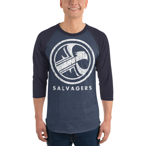 Salvagers Distressed Logo 3/4 sleeve raglan shirt