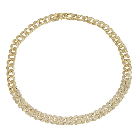 CUBAN LINK DIAMOND CHOKER NECKLACE -11mm