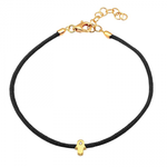 CORD BRACELET -DIAMOND HAMSA -BLACK