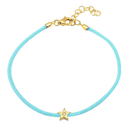 CORD BRACELET -DIAMOND STAR -SKY BLUE