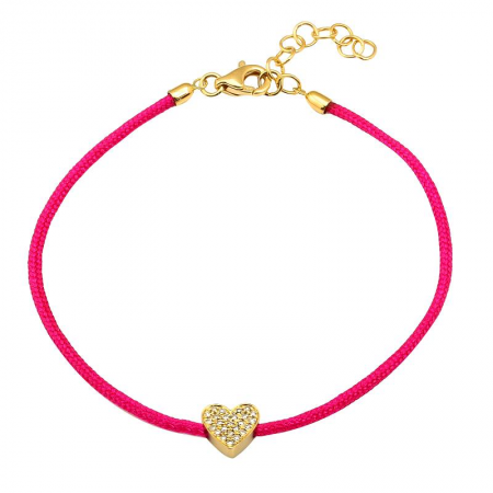 CORD BRACELET -DIAMOND HEART -HOT PINK
