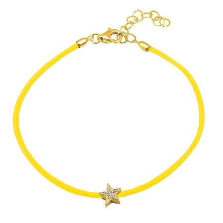 CORD BRACELET -DIAMOND STAR -YELLOW