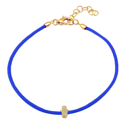 CORD BRACELET -DIAMOND HAMSA -ROYAL BLUE