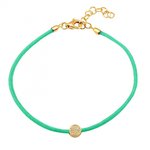 CORD BRACELET -DIAMOND CIRCLE -TURQUOISE