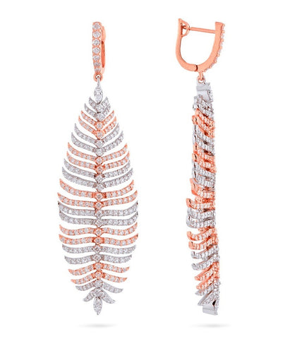 LARGE DIAMOND FEATHER EARRINGS