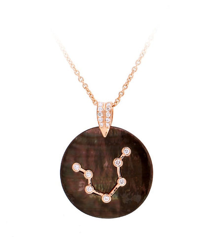 MOTHER OF PEARL ZODIAC MEDALLION - AQUARIUS
