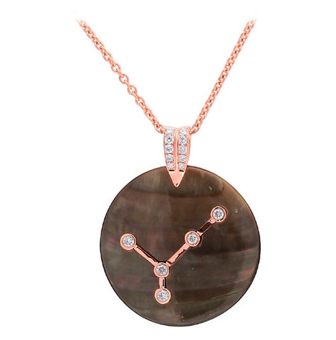 MOTHER OF PEARL ZODIAC MEDALLION - CANCER