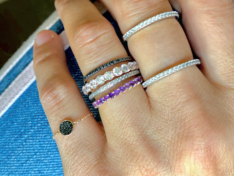EVERYDAY PAVE STACK BAND - AMETHYST
