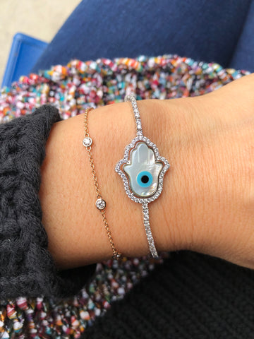 MOTHER OF PEARL HAMSA BOLO BRACELET