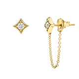 SPADES DIAMOND CHAIN STUD EARRINGS