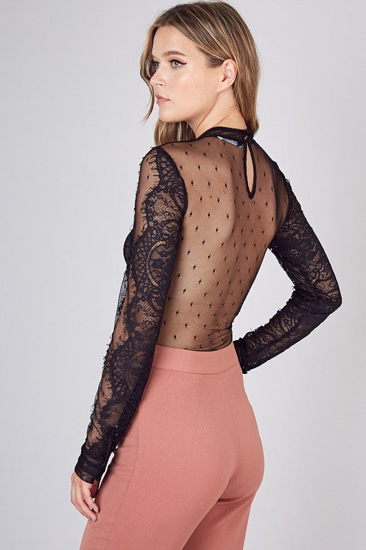 FRENCHIE SHEER LACE BODYSUIT