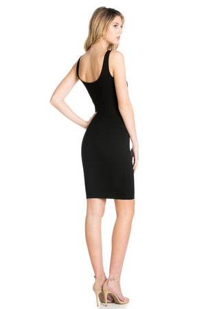 KNIT SLIP ON  BODY CON DRESS - FAB5Clothing