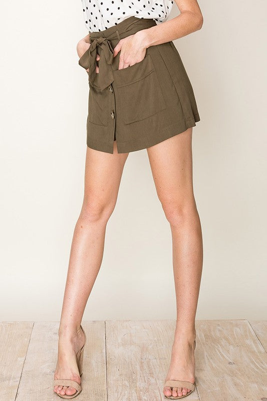 Safari Paper Bag Waist Skort