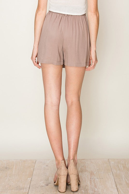 button front paper bag waist skort