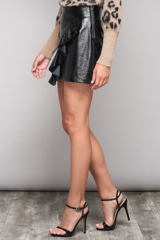 FAUX LEATHER RUFFLE SKIRT - FAB5Clothing