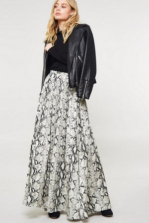 PLEATED PYTHON MAXI SKIRT