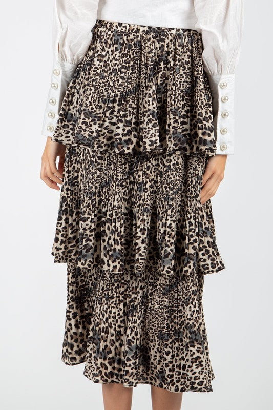 LOLA TIERED LEOPARD SKIRT