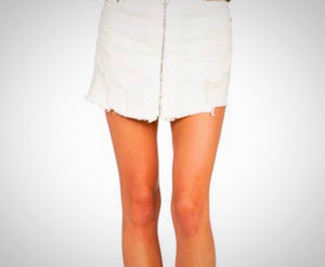 Distressed Front Zip Denim Skirt