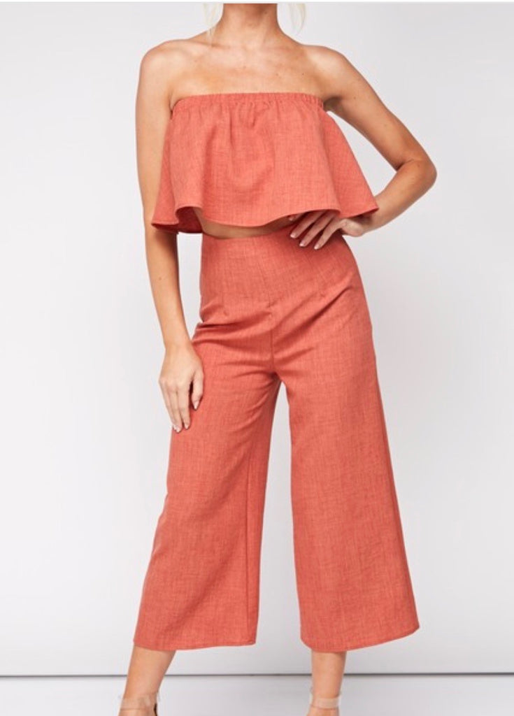 Ruffled Tube Top & Cropped Culottes 2 Piece Set - FAB5Clothing