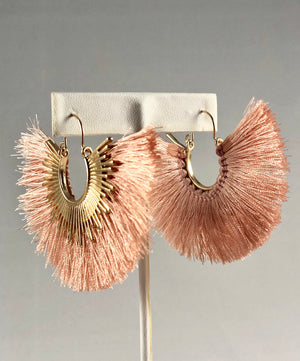 Fanned out blush fringe earrings - FAB5Clothing