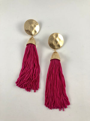 GOLD PLATED LONG HOT PINK TASSEL - FAB5Clothing