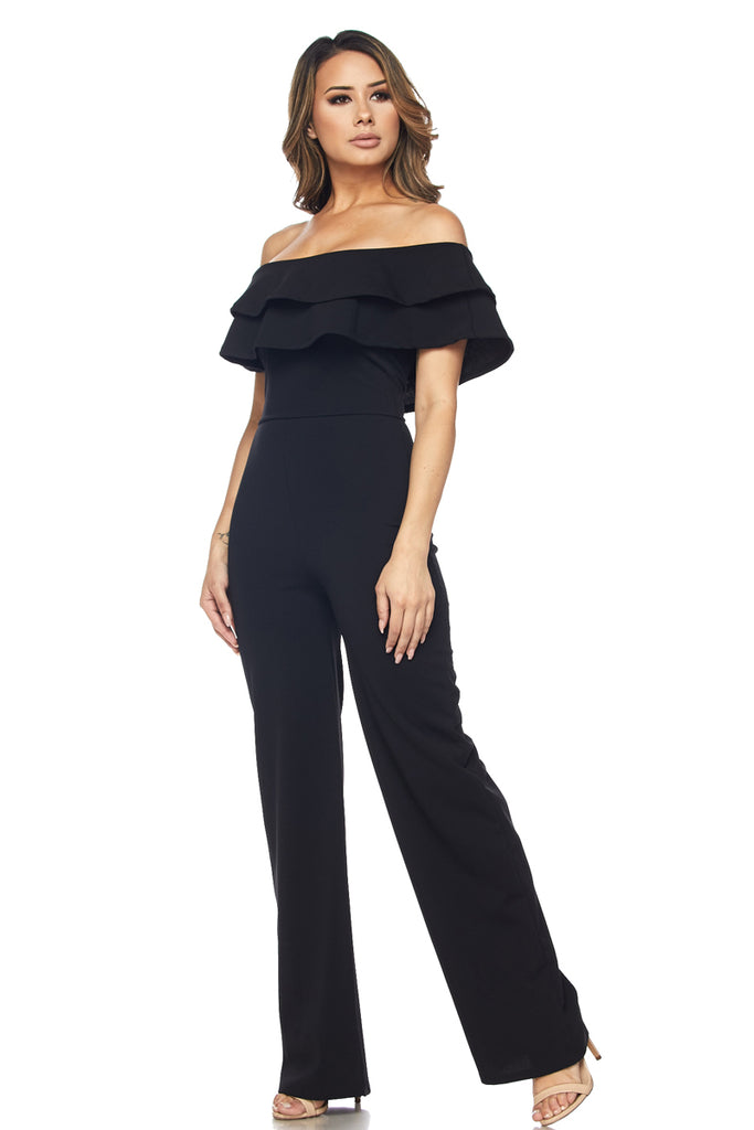 OFF SHOULDER RUFFLE JUMPSUIT - FAB5Clothing