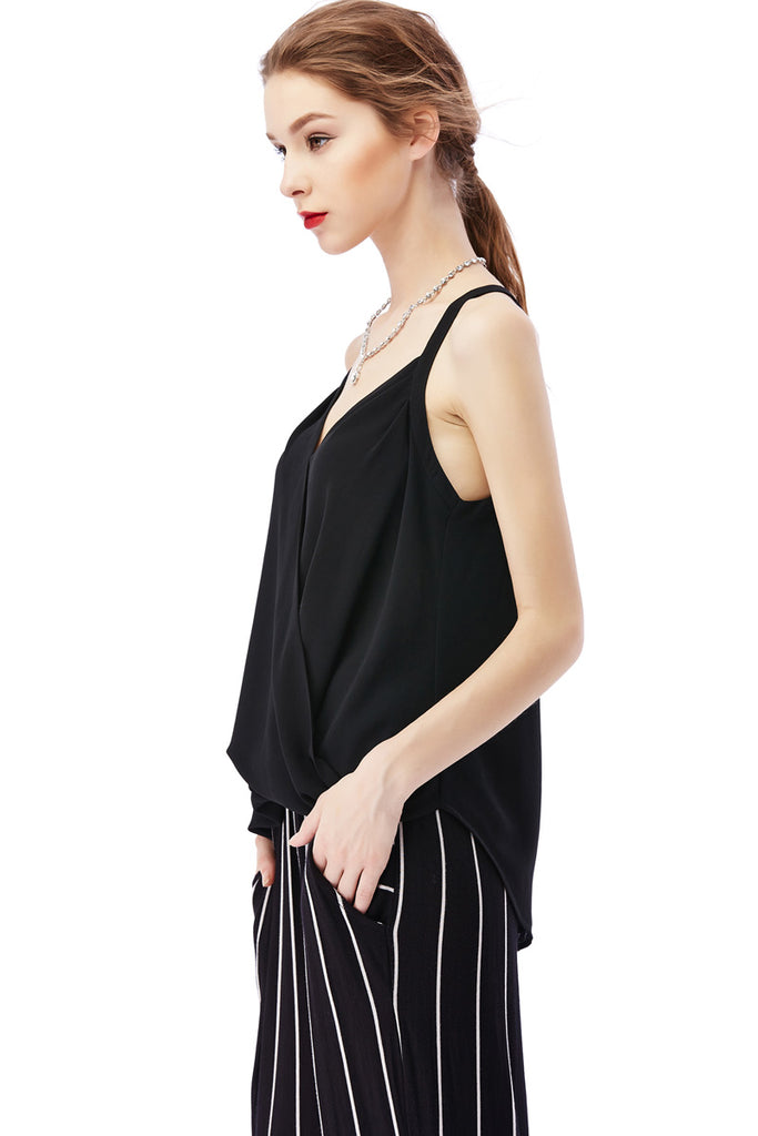 SURPLICE FRONT WOVEN TANK - FAB5Clothing