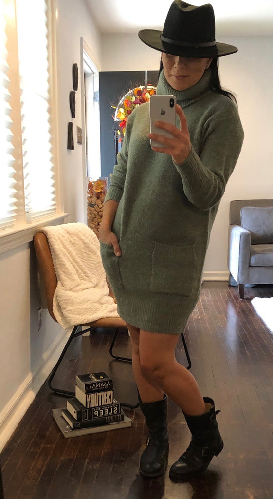 COZY UP TURTLENECK SWEATER DRESS