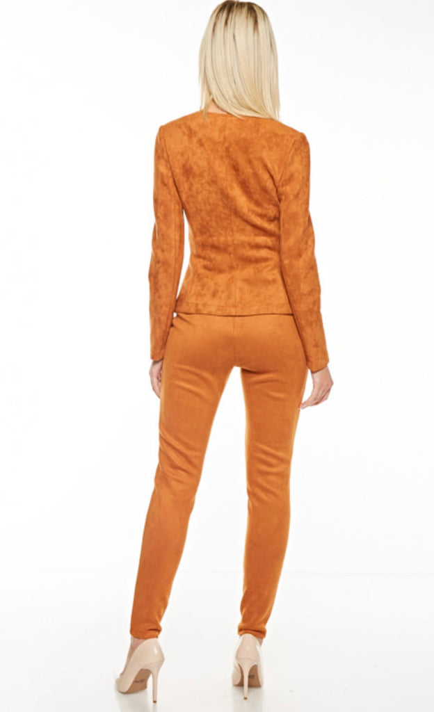 HIGH-RISE FAUX SUEDE PANT