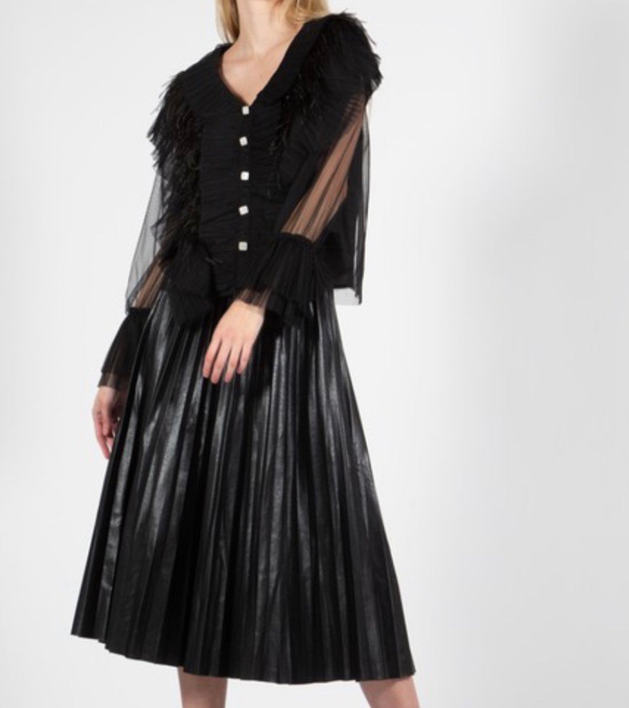 Chelsea Pleated Faux Leather Skirt