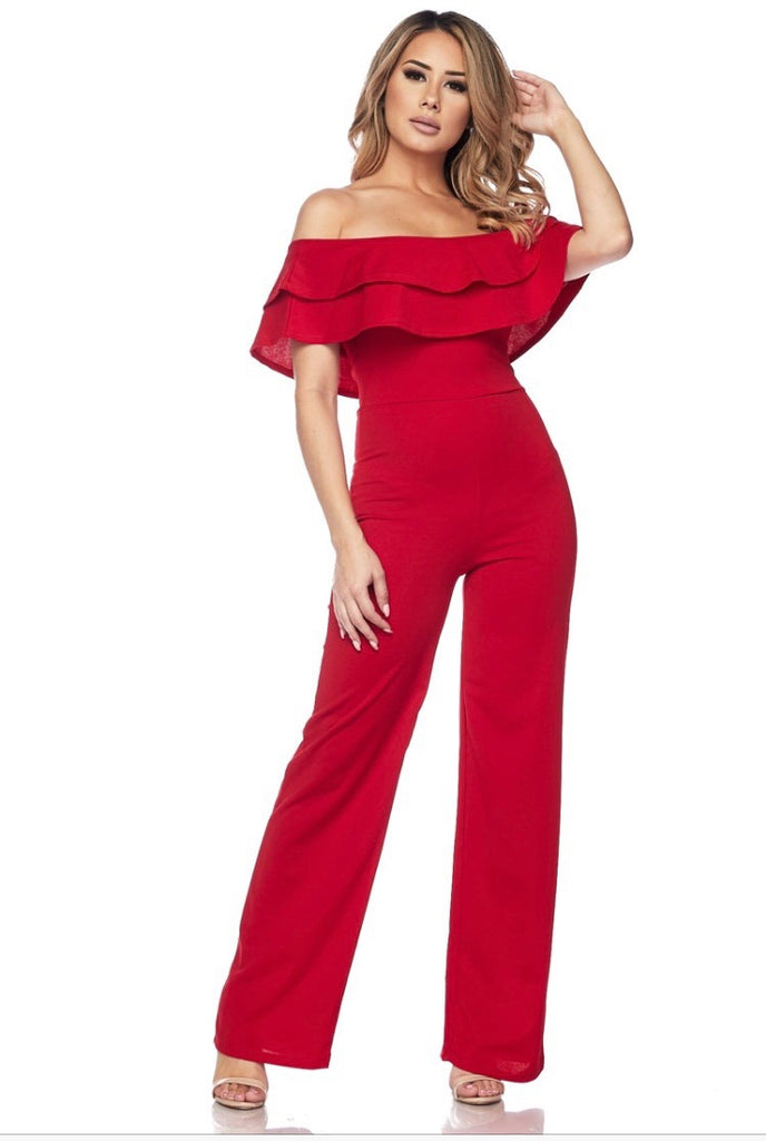 OFF SHOULDER RUFFLE JUMPSUIT