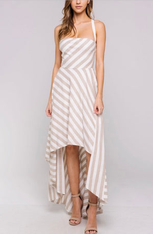 CAPRI STRIPED HIGH LOW DRESS