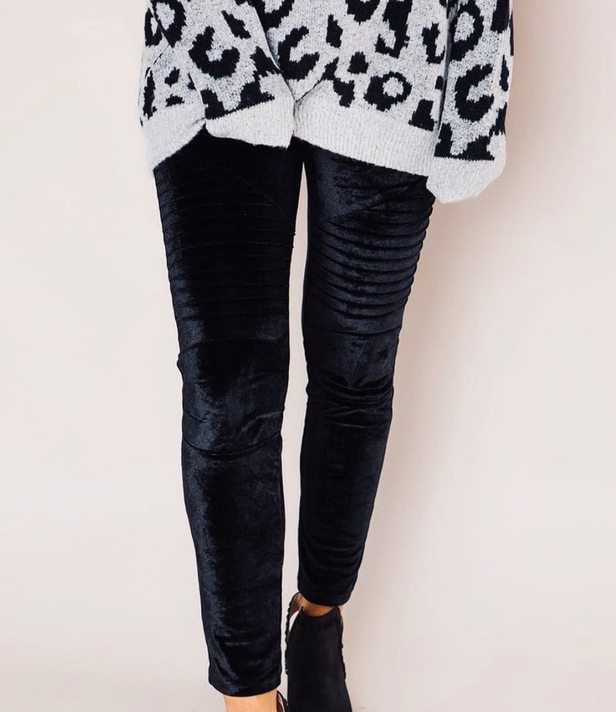 Velvet Biker Leggings