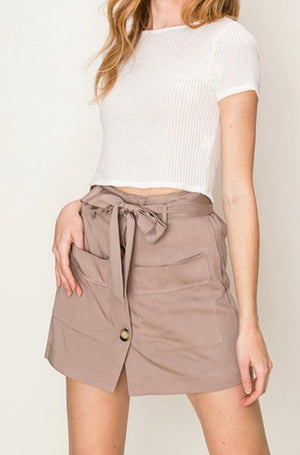 Button Front Paper Bag Waist Skort - FAB5Clothing