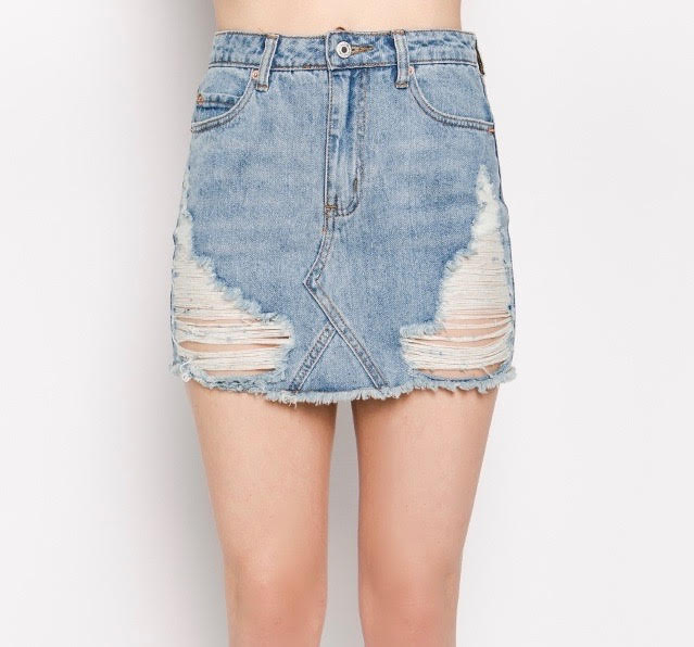 Distressed Denim Mini Skirt - FAB5Clothing