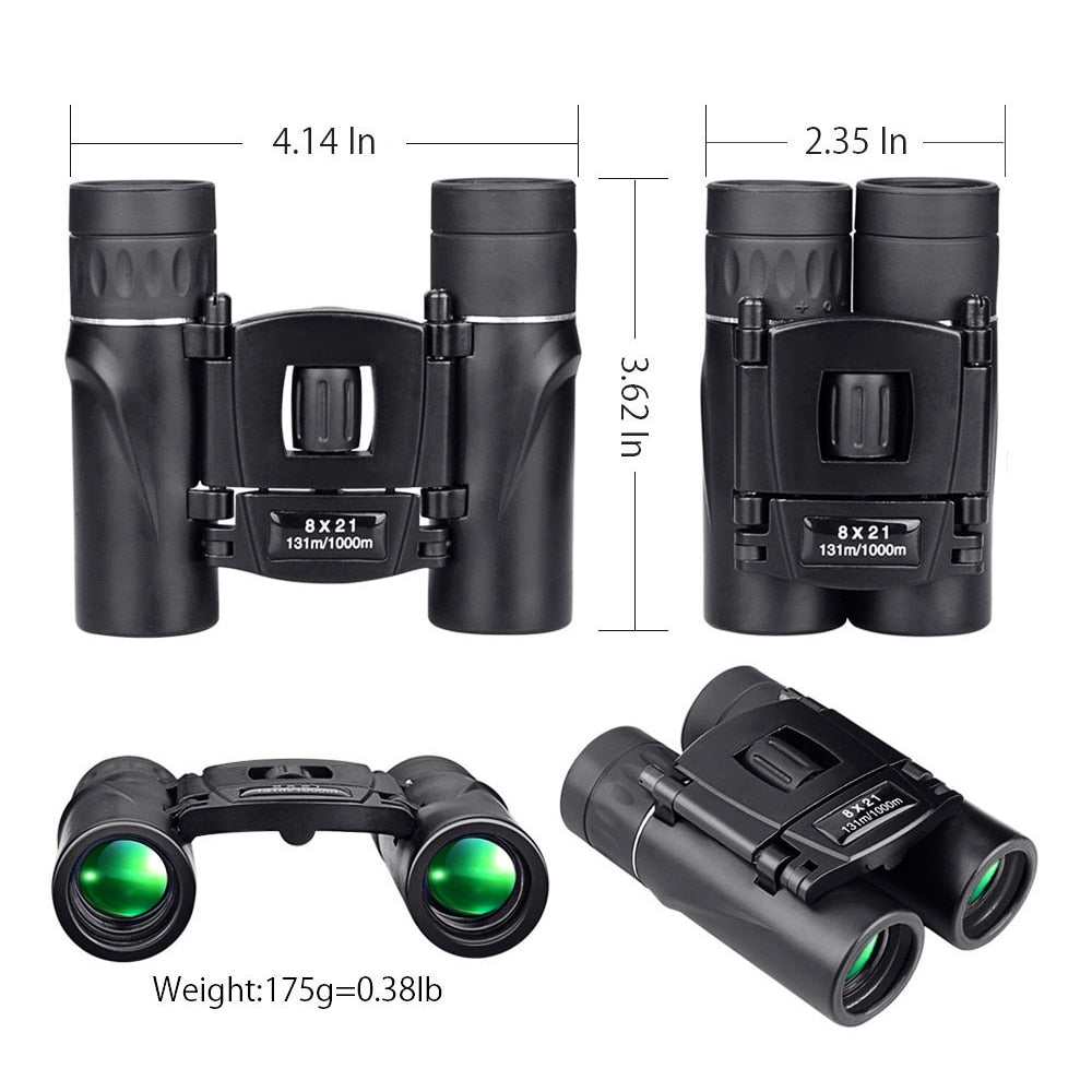 8x21 Compact Zoom Binoculars Long Range 1000m Folding HD Powerful BAK4 FMC Optics